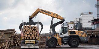 liebherr l580 loghandler ilim timber bavaria dechargant remorque